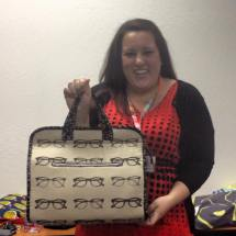 Sarah shows off her Makers Tote bag in Echino glasses fabric.