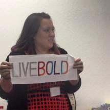 "Sarah states to ""Live Bold"" with her Mighty Lucky Quilting Club sample."