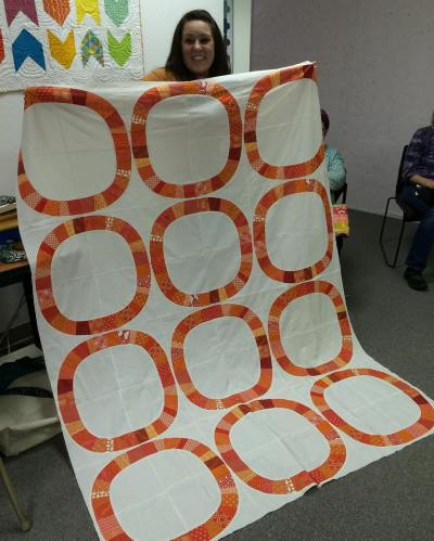 Show and Tell, May 2016%0A%0A@sarahrose__ finished her single girl quilt top! #quilting #quilt #modernquilting by siliconvalleymqg