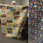 Show and Tell, May 2016%0A%0ASuch a fun cheerful kids quilt! And we loved the back fabric! #quilting #quilt #modernquilting by siliconvalleymqg