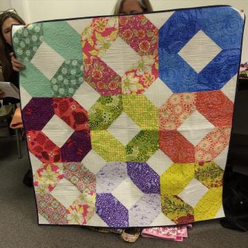 Show and Tell, May 2016%0A%0ATwo is better than one! Not pictured, the other one for a set of twins! #modernquilting #quilting #quilt by siliconvalleymqg