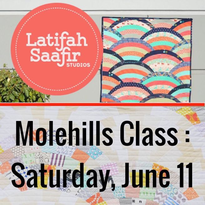 We are so happy to have @latifahsaafirstudios join us for a day and teach us how to make her lovely Molehills quilt. There are still spots open in the class! It will be held on June 11 at The Intrepid Thread in Milpitas, CA. The class is $65 for SVMQ
