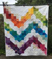 Periokomen Quilt | April 2018 | Blocks Layout by Tricialyn Apolinar | Pieced by Rochelle Rosales | Quilted by Rhonda Rosales | Bound by Sarah Osentowski | Recipient: Quilts for Ventura, victims of the Thomas Fire
